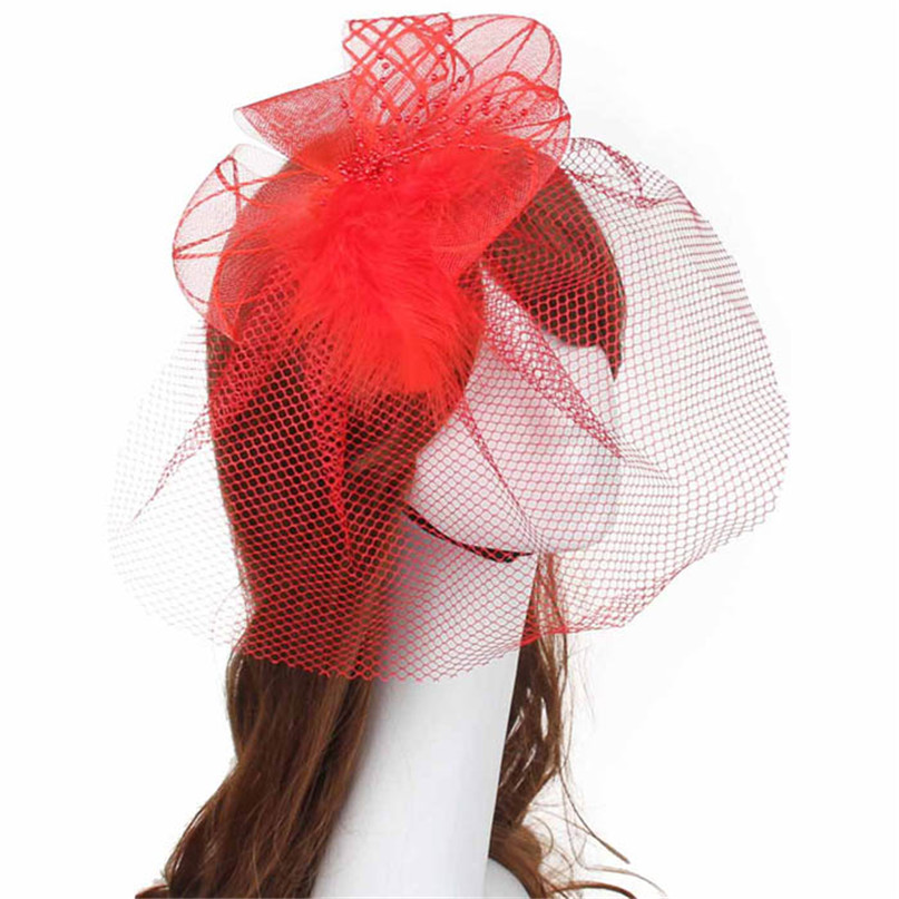 Modern 6 color Women Brides Wedding Fascinator Veil Feather Hard Yarn Headband Hats Hair Accessories clothes free shipping jun30(China (Mainland))