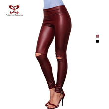 2016 Spring New Womens LeggingsTrend Fashion Sexy Slim High Elasticity Long Pants High Waist  Knee Hole Pencil Pants NC-1046(China (Mainland))