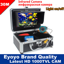 "Eyoyo Original 30M 1000TVL Fish Finder Underwater Fishing 7"" Video Camera Monitor AntiSunshine Shielf Sunvisor Infrared IR LED(China (Mainland))"