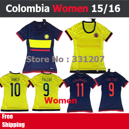 2015 2016 Colombia women jersey FALCAO JAMES RODRIGUEZ CUADRADO Colombia jersey women 15 16 yellow girls futbol soccer shirt(China (Mainland))