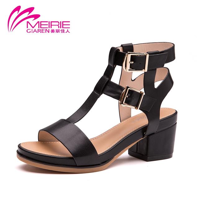 2015 Aokang новый летний стиль старинные обувь т-образный сандалий женщин высокой ...