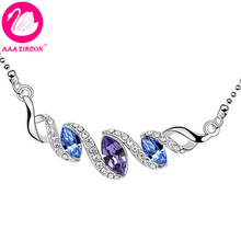 """Quality Women's """"Spiral Cloud"""" Shaped Purple Crystal Necklace Made With Swarovski Elements, Come With A Necklace Box! (6680)(China (Mainland))"""