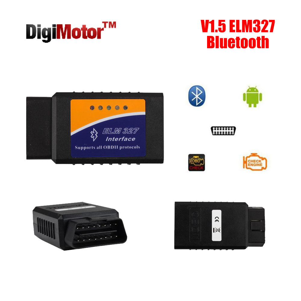 ELM327 V1.5 Bluetooth OBD2 2016 ELM 327 V 1.5 OBDII Code Reader Diagnostic Tool Mini Scanner OBD 2 Car OBD-II - Digimotor Technology Co., Ltd. store