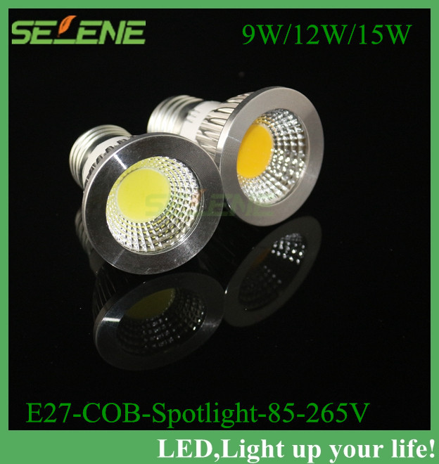 1PC High Power CREE Dimmable E27 9W 12W 15W LED COB spotlight lamp bulb warm cool white 110V/220V/230V Spot Bulb Lamp CE ROHS(China (Mainland))