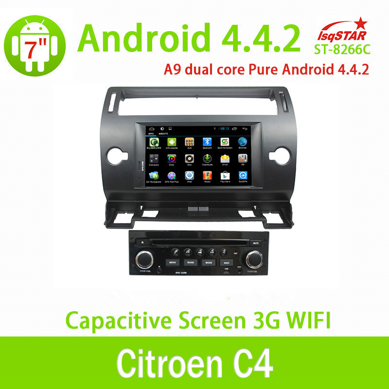 7inch pure Android 4.4 Car Dvd Player Rds auto Radio Usb BT 3G Wifi GPS car video player For Citroen C4 8266C(China (Mainland))