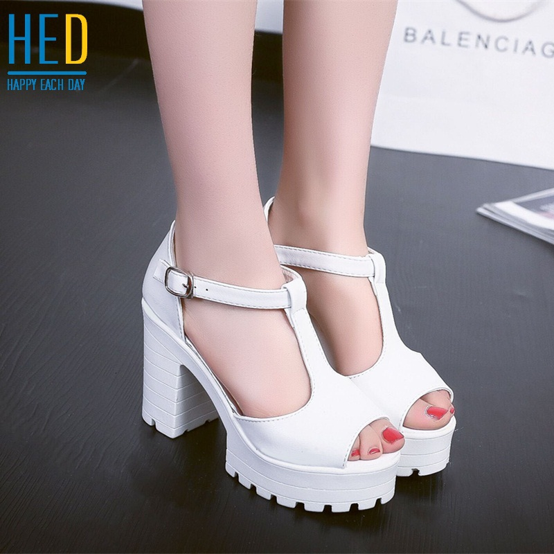 Women sandals!Free shipping! New 2015 summer open toe sandals platform thick heel high-heeled shoes white pink women's shoes(China (Mainland))