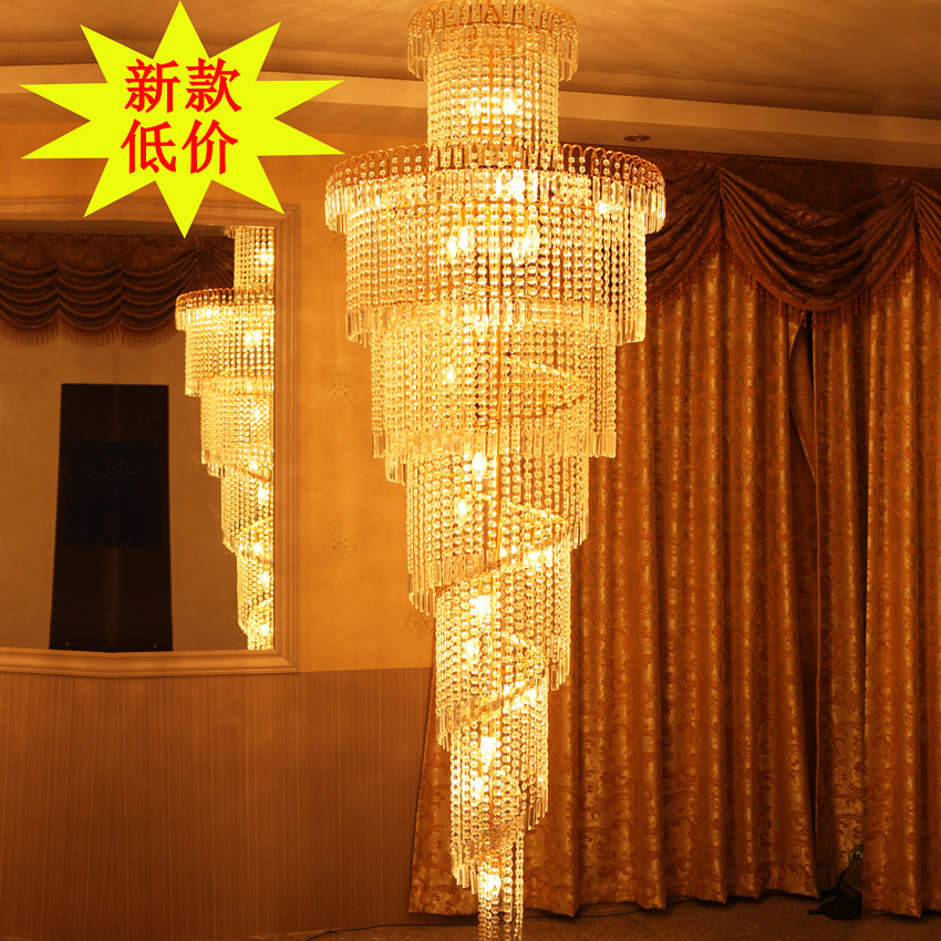 Modern Brief Stair Lamp Long Pendant Light Crystal Lamp