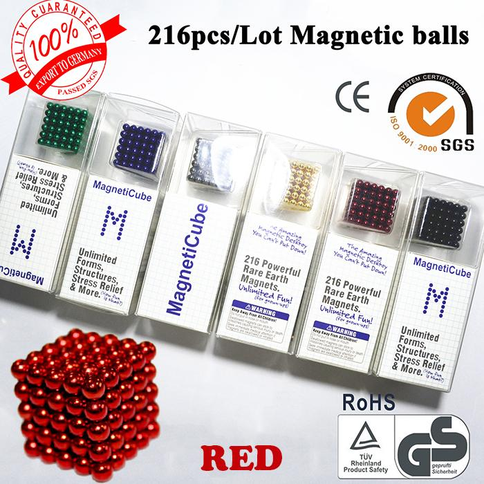 Promotion! Free shipping 5mm Neo cube 216/set Buckyballs,Magnetic Balls, neocube, magic cube color : Red(China (Mainland))
