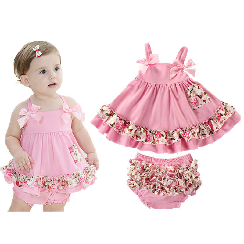 Newborn Sets Baby Girls Sling Princess Dress + Bloomers Romper Climbing Clothes Cotton Suit Baby Girls Clothing 2016 Summer V30(China (Mainland))