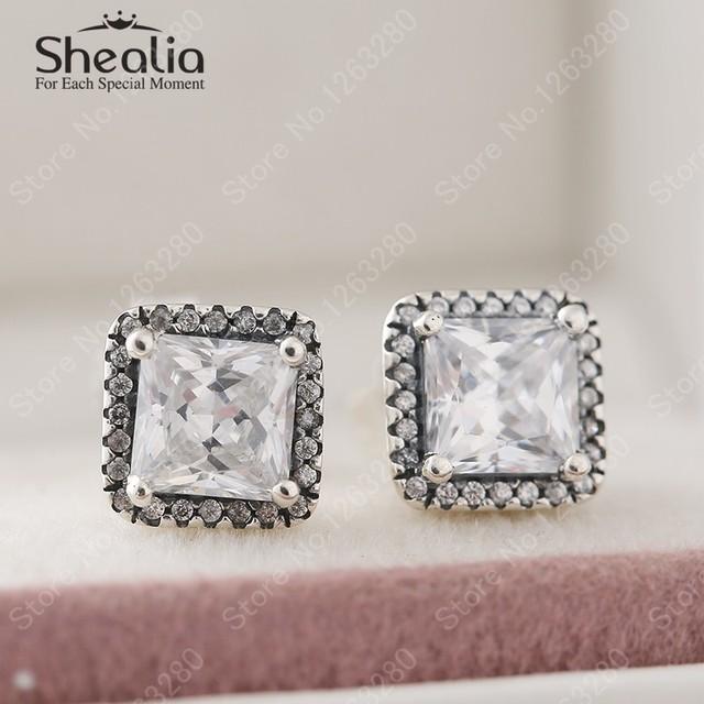 2015 осень новый роскошный австрийский хрусталь квадрат серьги для женщин аутентичные серебро 925 изящные серьги EAR025
