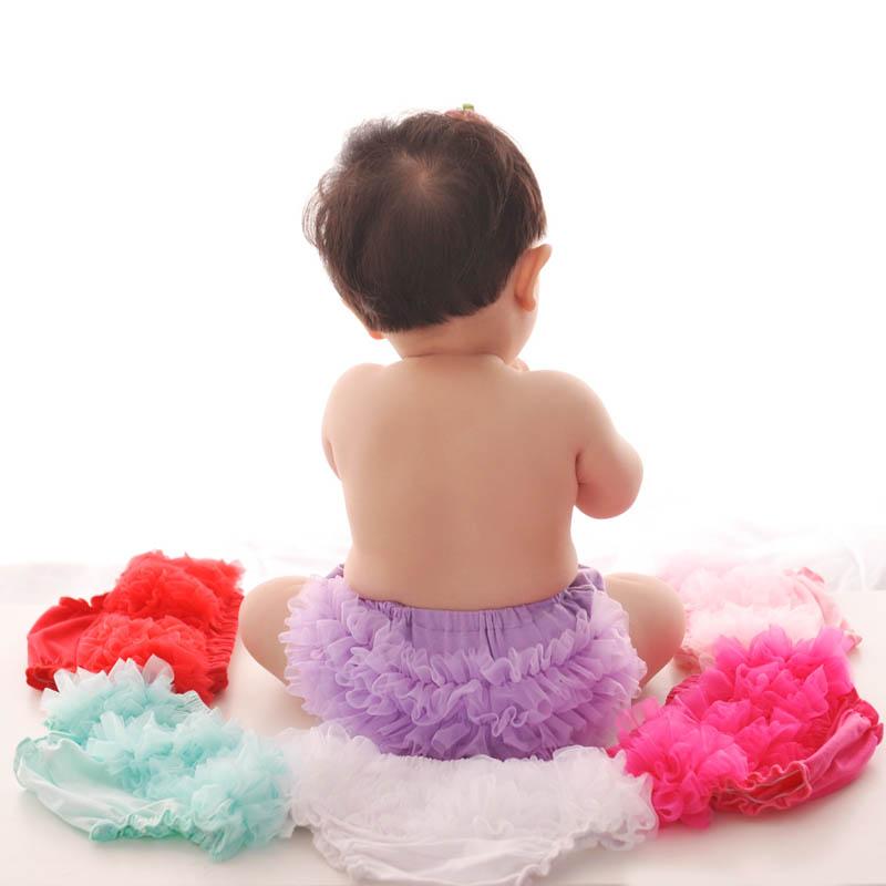 newborn bloomer solid color shorts cute baby girls short pants cotton layers chiffon ruffled kids diaper covers shorts(China (Mainland))