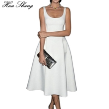Buy 2016 Women Summer Dress Sleeveless A-Line OL Office Dress Lady White Black Plus Size Dress Female Midi Party Dress Pockets for $16.42 in AliExpress store