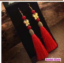 Red Handmade Chinese National Trend Long Tassel Earring ,Butterfly with Red Pearl Wedding Bride Earings (China (Mainland))