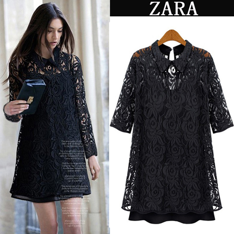 2015 summer cute work dress peterpan collar basic black white embroidery sweet classical lace dress plus size hotselling(China (Mainland))