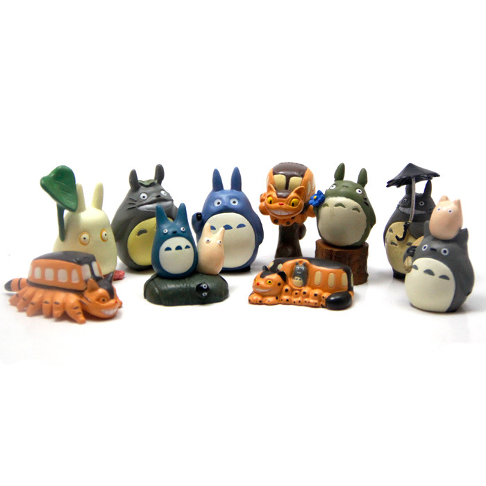 10pcs/set Studio Ghibli Figure Hayao Miyazaki Movie Toy My Neighbor Totoro Cat Bus Keychain Anime Resin Figures Kids Toys(China (Mainland))