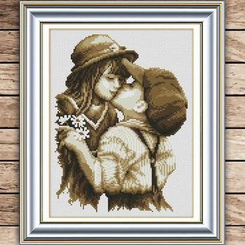 Beautiful Needlework,DMC bead Cross stitch,Sets For Embroidery kits,first romantic kiss Counted Cross-Stitch #HA10447