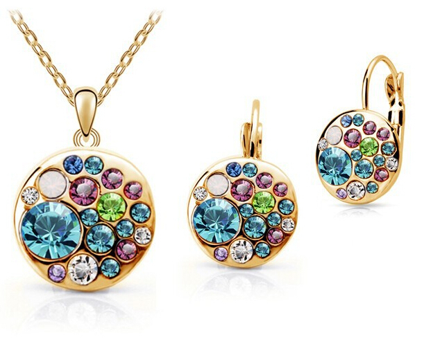 Vintage Set New 2015 18K Gold Plated / Silver Simulated Diamond Korean Multicolor Round African Costume Crystal Jewelry Sets(China (Mainland))
