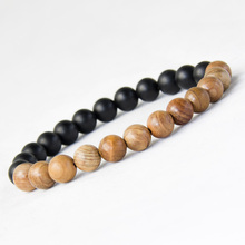 New Men Natural Wood Beads Bracelets Black Matte Agate Meditation Prayer Bead Bracelet Women Wooden Jewelry,Yoga Jewelry(China (Mainland))