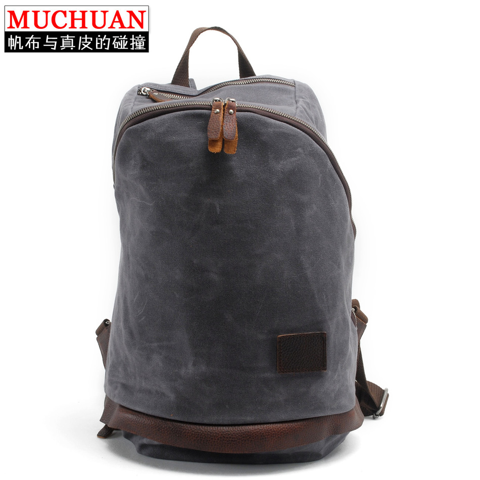 New Product Oil Cerecloth Canvas Both Shoulders Package Leisure Backpack Defence Package Male Computer Package Travelling Bag A(China (Mainland))