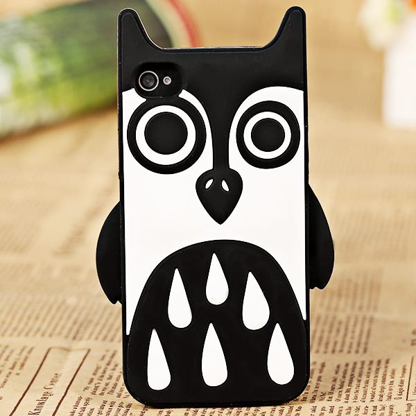 Lovely Cartoon Owl Shape Soft Silicone Cover Case for iPhone 4 / 4S 2016 Hot Sale Trendy Style Phone Protective Back Case Shell(China (Mainland))
