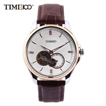2016 TIME100 Men Watch Mechanical Automatic Self-Wind Leather Strap Waterproof Gold Skeleton Wrist Watches For Men reloj hombre
