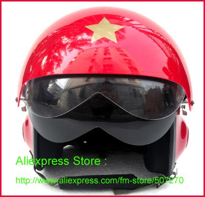 Free Shipping ! TK Chinese Street Air Force Jet Pilot Open Face Motorcycle Bright Red Helmet & Visor SIZE M , L , XL , XXL(China (Mainland))