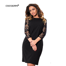 Buy 2017 New Lace Women Dresses Summer Big Sizes Loose Dress O-Neck Large Sizes Solid Office Dress Elegant Black Red Vestidos L-6XL for $13.98 in AliExpress store