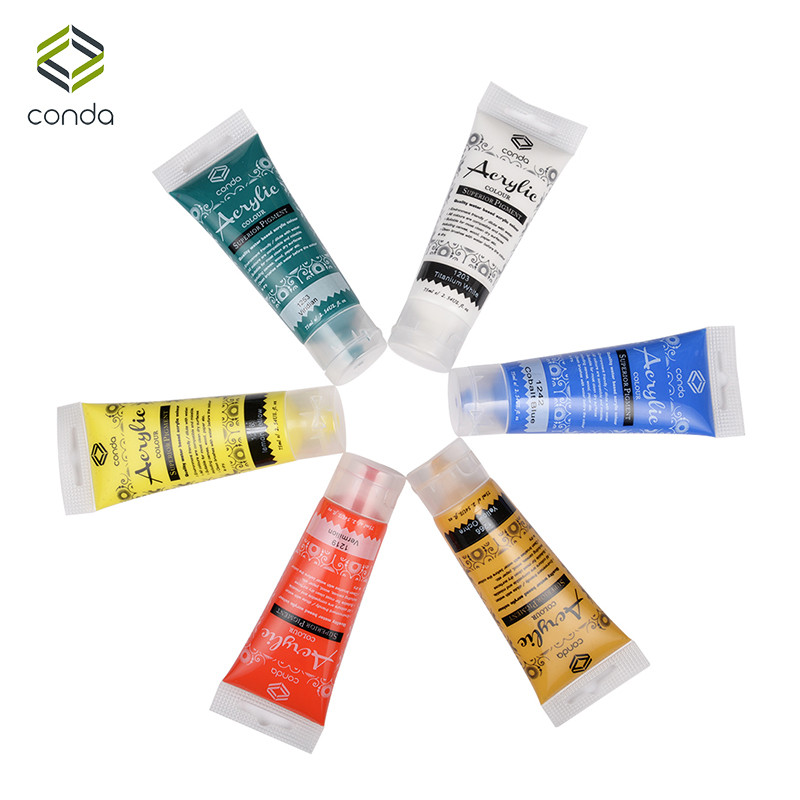 Acrylic Paint Set 75ml 6 tube CONDA Paint for Fabric Studio Set Perfect For Paper Stretched Canvas Wood Plaster Tin Pigment(China (Mainland))