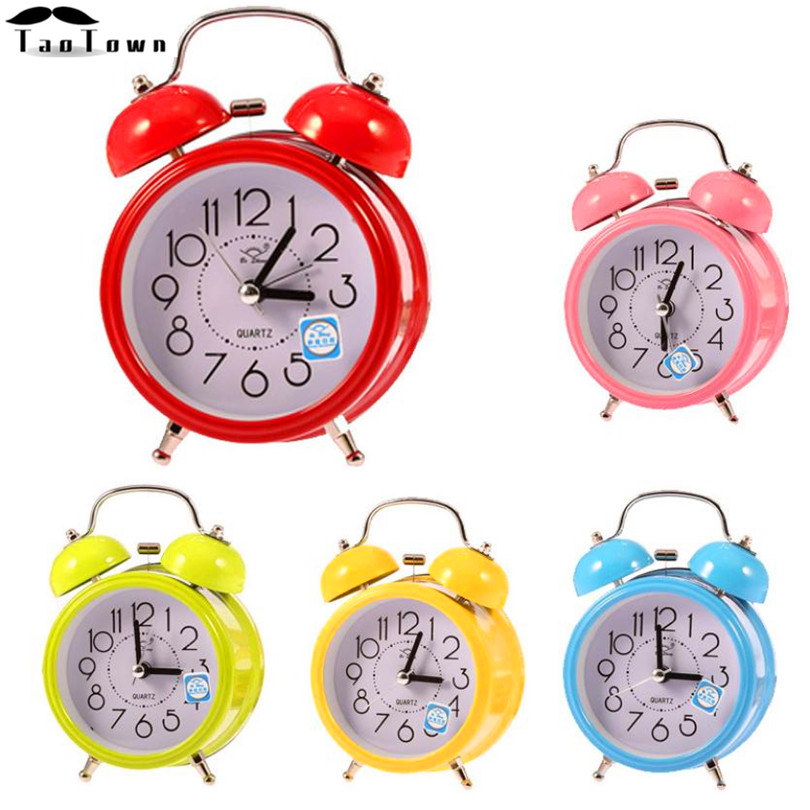 2016 High Quality Stainless metal New Colorful Cute Fashion Small Double-Bell Night Light Children Mini Quartz Alarm Clock(China (Mainland))