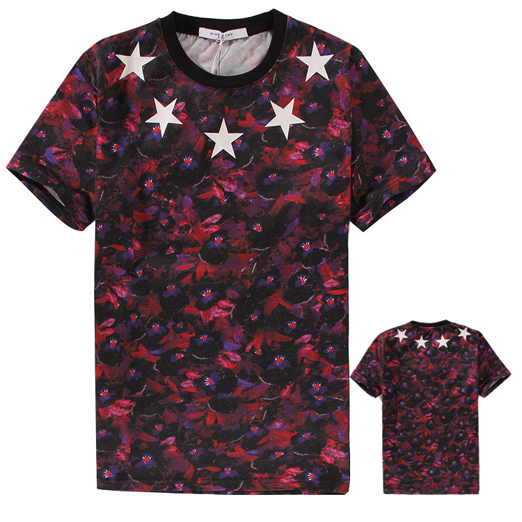 2015 summer gv logo brand mens t shirts fresh flowers all for Fresh brand t shirts