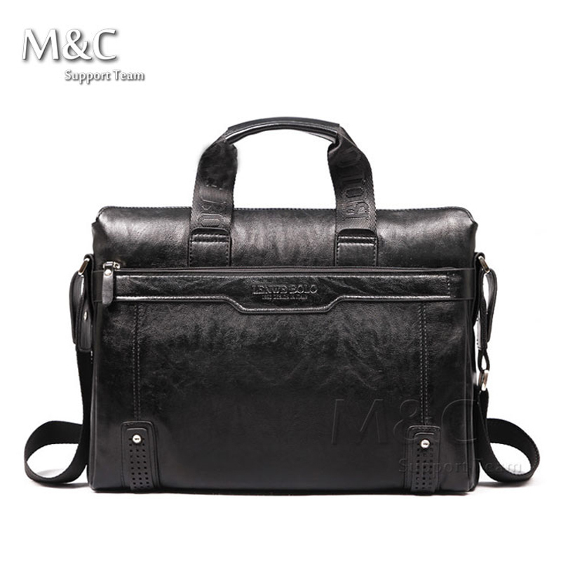 M&C New Fashion Brand Genuine Leather Men's Briefcase Bag Business