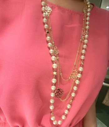 2016 Fashion Women Vintage Jewelry Ks Style Long Simulated Pearl Necklace Flower Sweater Chain Necklaces Pendants X023 - MENGJIQIAO -Rose Store store