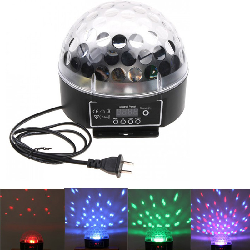 Big Promotion Mini LED RGB Crystal Magic Ball Effect Light DMX Colorful Rotating Disco DJ DMX512 Stage Lighting EU/US Plug(China (Mainland))