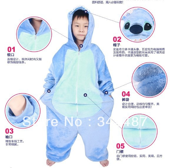 unisex for children animal themed costumes Stitch kids Jumpsuit pajamas children cartoon onesie all in one sleepwear flannel