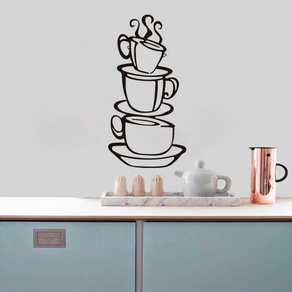 have a cup of coffee shop wall decals home decorations zooyoo8104 kitchen room removable vinyl wall art diy decorative sticker(China (Mainland))
