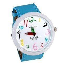latest style,WOMAGE Number Dial Pencil Hands Women's Analog Watch (Green.Red.blue.black)women's watch.free shipping