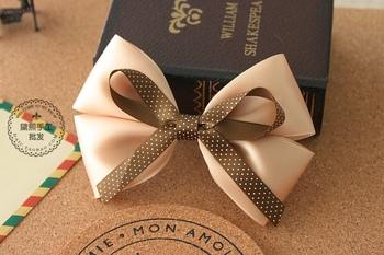 (MIN ORDER $15)Korean manual Cappuccino Polka Dot bow  Hair Clip A012