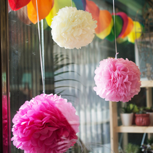 "5PCS DIY 28Colors 10"" (25CM )Paper Flowers Kissing Ball Wedding Home Birthday Party&Wedding Car Decoration Tissue Paper Pom Poms(China (Mainland))"