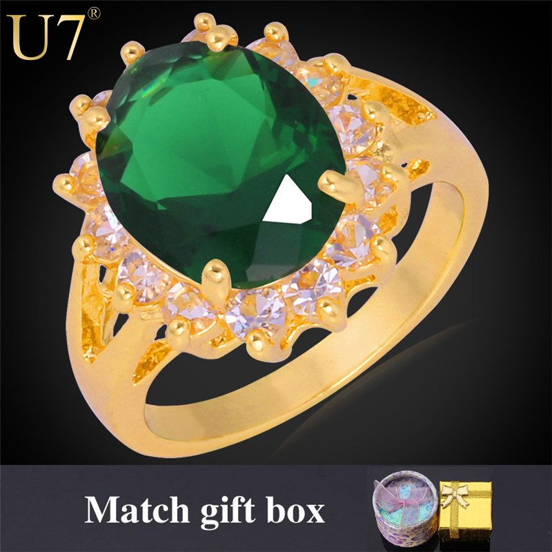 Luxury Zirconia Rings New High Quality 18K Real Gold Plated 7 Colors Zircon Trendy Round Wedding Bands Ring For Women Gift R324(China (Mainland))