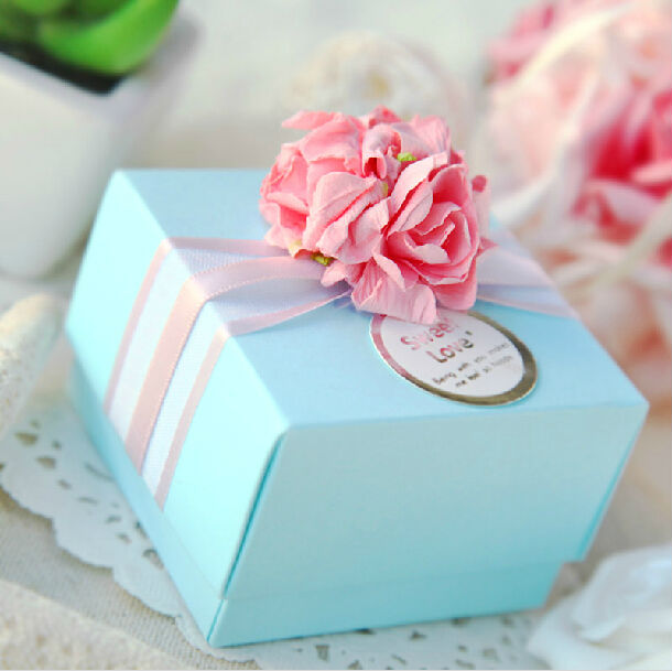 (50 pieces/lot) Blue Wedding Candy Box Pink Flower/ Floral Paper Boxes - Minling Favors store