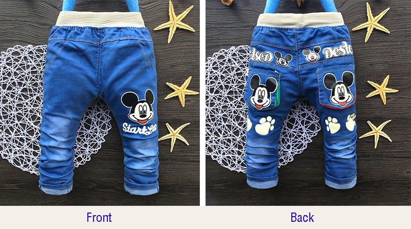 Regular Kids Jeans Cute Cartoon Print Blue Toddler Girls Pants Elastic Waist Straight Boys Jeans For Children 2-4 Years