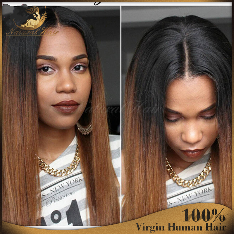 7A Full Lace Human Hair Wigs Silk Straight Ombre Lace Front Wigs Brazilian Virgin Hair Glueless Full Lace Wigs For Black Women<br><br>Aliexpress