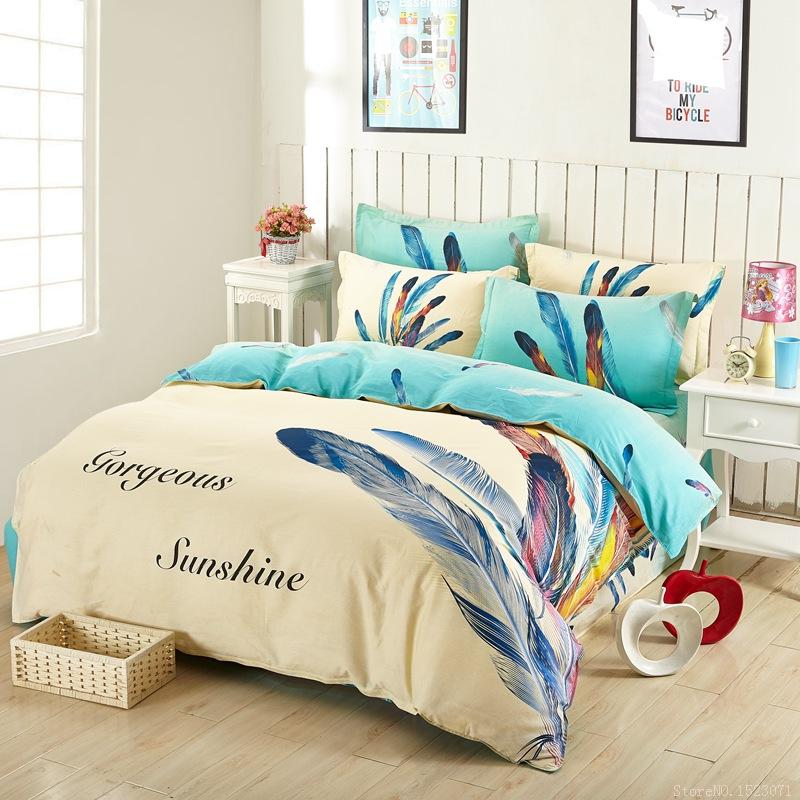 Sky blue feather print gorgeous sunshine bedding set 4pcs korean floral bohemian style queen size bedspreads comforter sets(China (Mainland))