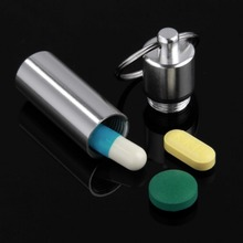 1pcs Keychain Pill Box WaterProof Silvery Aluminum Drug Case Bottle Holder Container YKS(China (Mainland))