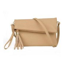 Women Leather Fashion Messenger Bag Tassel Fold Cover Sling Girl Shoulder Crossbody Bag Famous Brand Design Envelope Bolsas(China (Mainland))