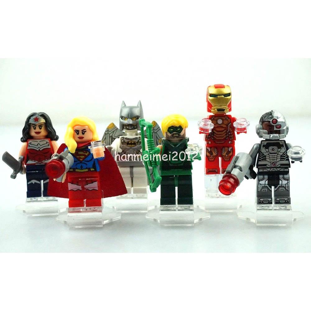6pcs/lot 2015 Space Batman Supergirl Cyborg Iron Man Minifigures Kid's Building Toys Sets Figures Legooo Compatible Bricks(China (Mainland))