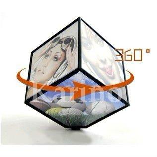 Free Shipping Wholesale Cube Photo Frame, 360 Rotate Automatic, Fashion Album, Gift Product