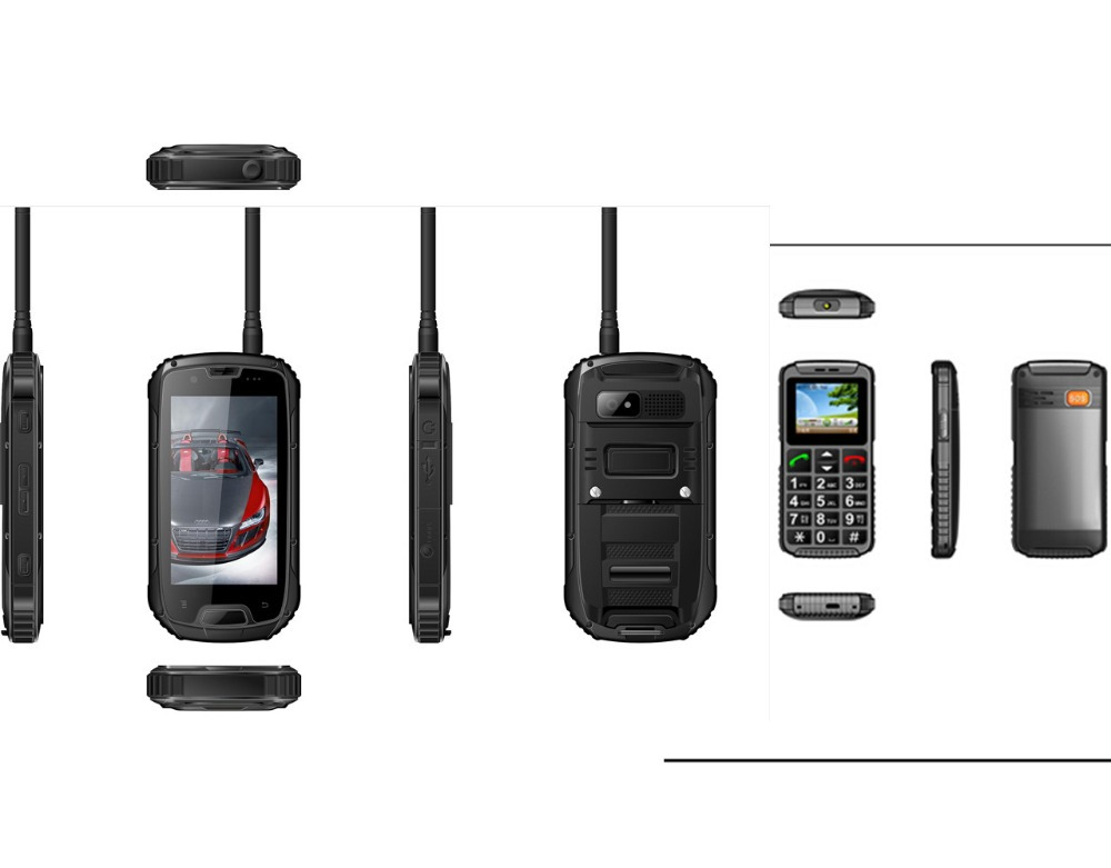 Buy one get one, S09 PTT Walkie Talkie IP68 waterproof Rugged Smartphone+Senior basic cell phone as Gift, Free shipping(China (Mainland))