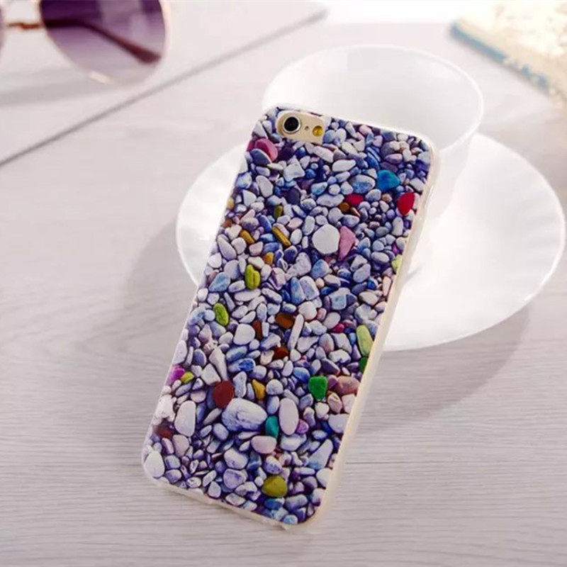 """Soft TPU Protective Case for iPhone 6 Plus 5.5"""" Colorful Rock Pebbles Stone Pattern Phone Case Cover Accessories(China (Mainland))"""