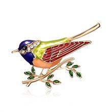 Разноцветная эмалированная брошь в виде птичьей ветки со стразами, булавки для мужчин и женщин, броши в виде птиц из сплава для костюмов, пла...(China)